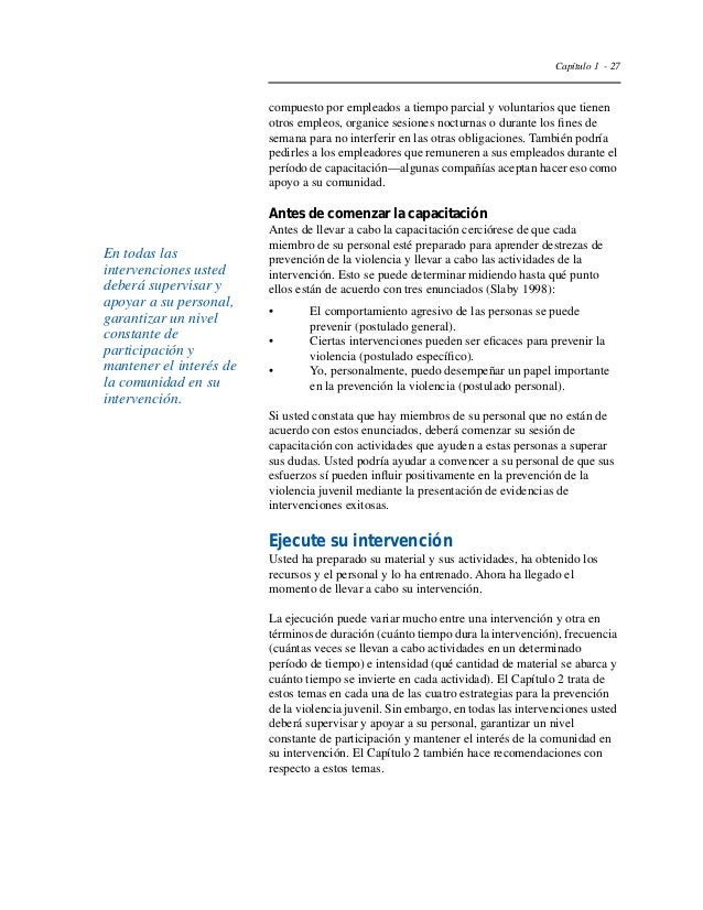 """Capítulo 1 - 30  Slaby RG. """"Preventing Youth Violence Through Research-Guided  Intervention."""" In Trickett PK, Schellenbach..."""