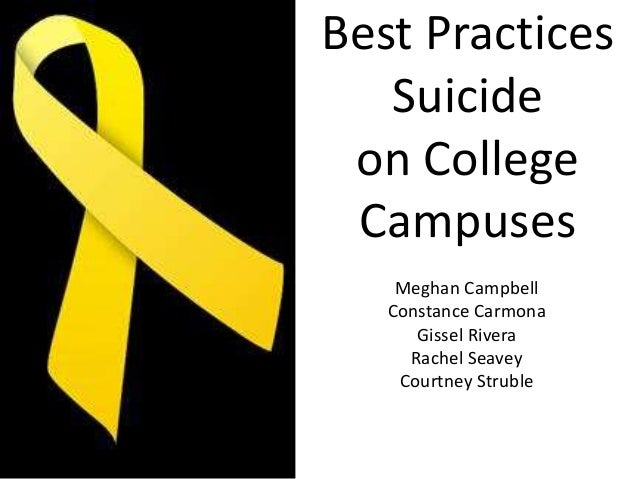 Best Practices Suicide on College Campuses Meghan Campbell Constance Carmona Gissel Rivera Rachel Seavey Courtney Struble