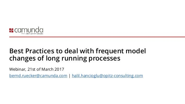 Best Practices to deal with frequent model changes of long running processes Webinar, 21st of March 2017 bernd.ruecker@cam...