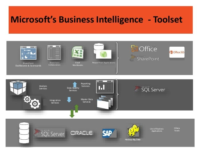 Analysis Services Reporting Services Integration Services Master Data Services SharePoint Collaboration Excel Workbooks Po...