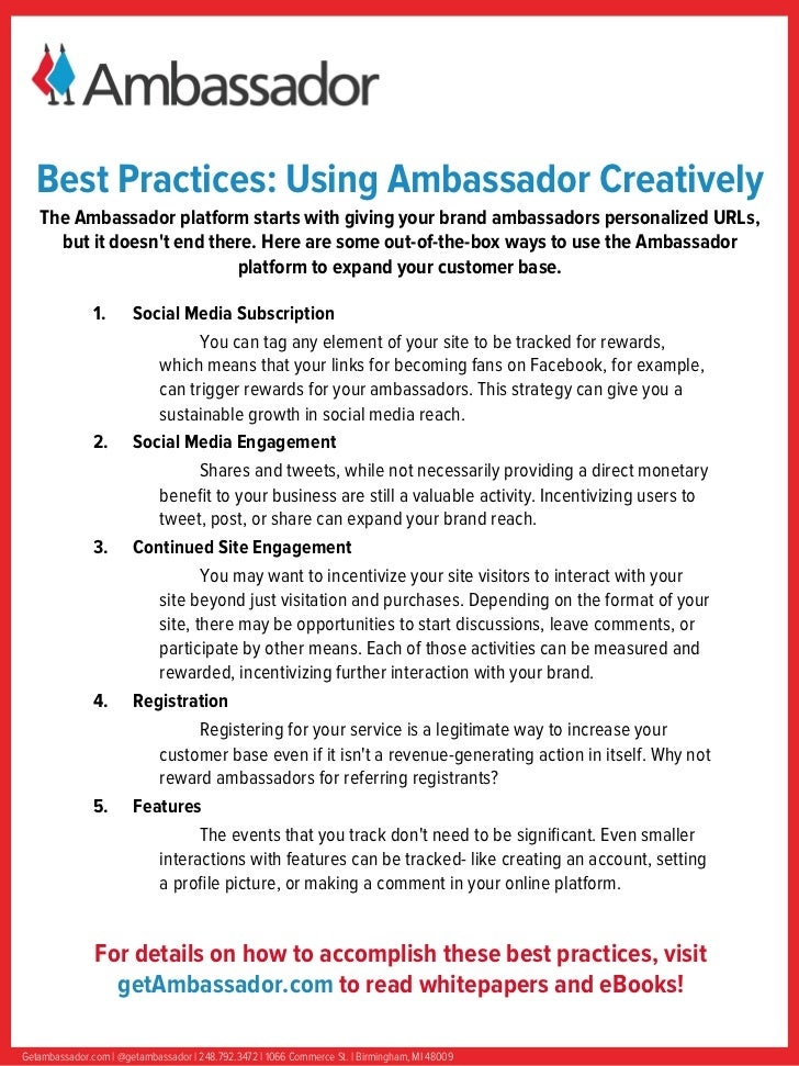 Best Practices: Using Ambassador Creatively   The Ambassador platform starts with giving your brand ambassadors personaliz...