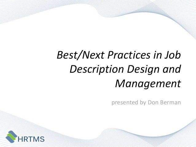 Best/Next Practices in Job Description Design and
