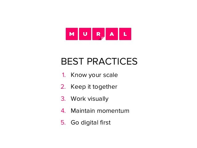 1. Know your scale 2. Keep it together 3. Work visually 4. Maintain momentum 5. Go digital first BEST PRACTICES