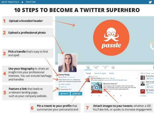BEST PRACTICE      TWITTER 10 STEPS TO BECOME A TWITTER SUPERHERO 1 2 3 6 4 5 Pick a handle that's easy to find and s...