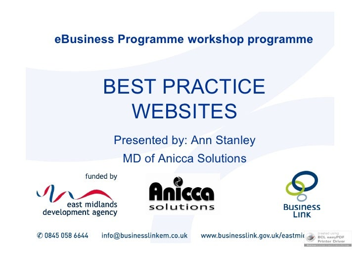 eBusiness Programme workshop programme           BEST PRACTICE          WEBSITES         Presented by: Ann Stanley        ...