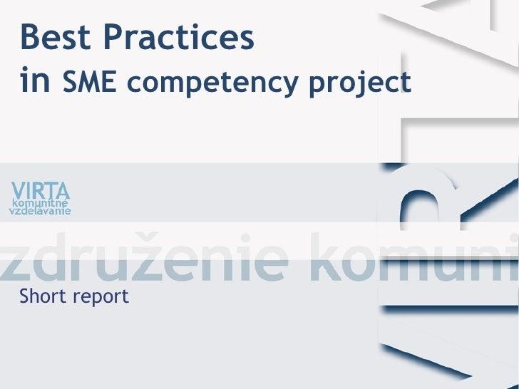 Best Practicesin SME competency projectShort report