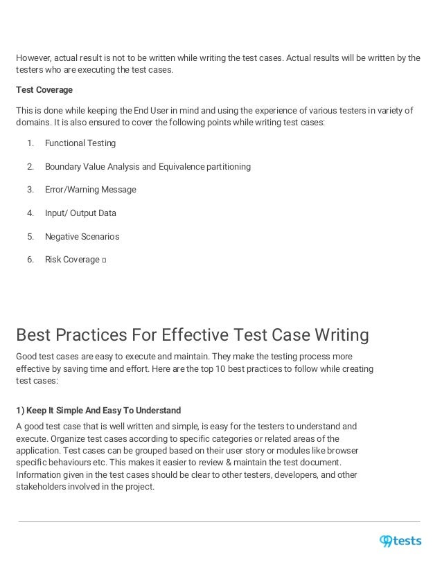 Best practices for test case creation & maintenance