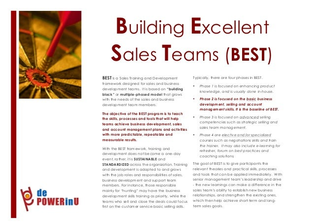 Building Excellent Sales Teams (BEST) 1 BEST is a Sales Training and Development framework designed for sales and business...