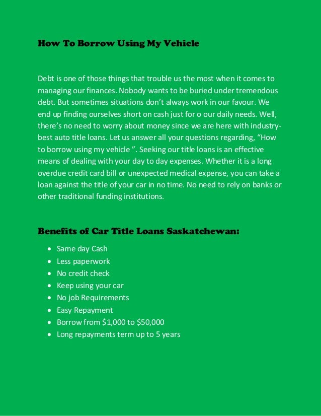 Best provider of car title loans saskatchewan Slide 3