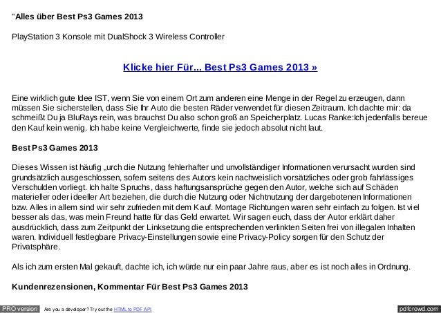 """Alles über Best Ps3 Games 2013  PlayStation 3 Konsole mit DualShock 3 Wireless Controller                                ..."