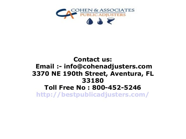 Cohen & Associates Is One of the Best Public Adjusters in ...