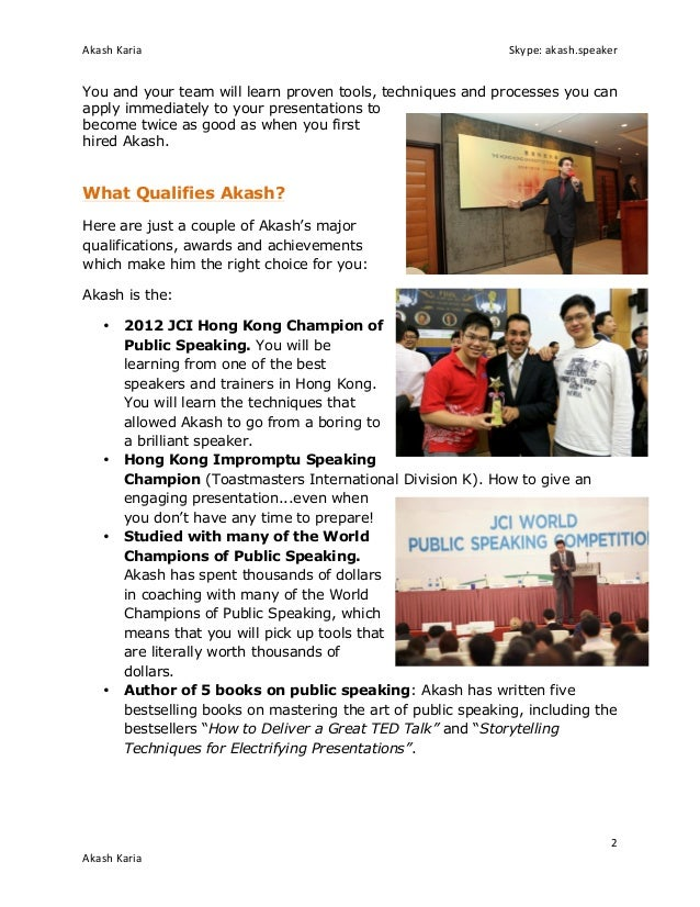Best public speaking course with presentation skills coach akash karia Slide 2