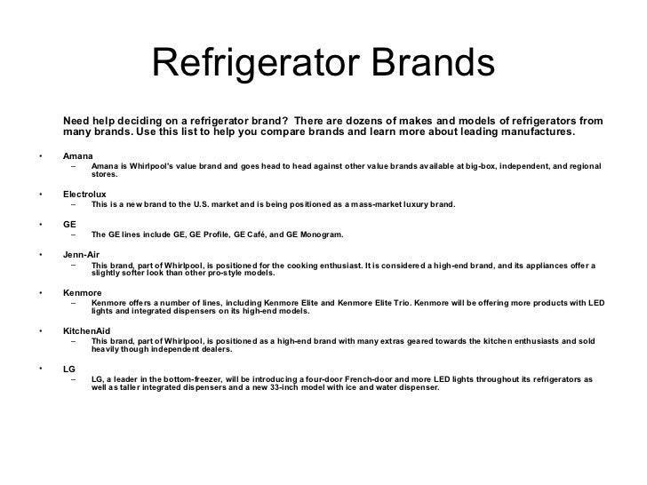 Refrigerator Brands ...