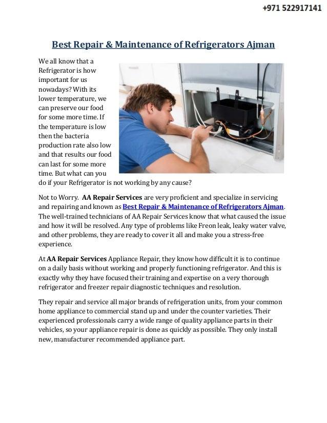 Best Repair & Maintenance of Refrigerators Ajman