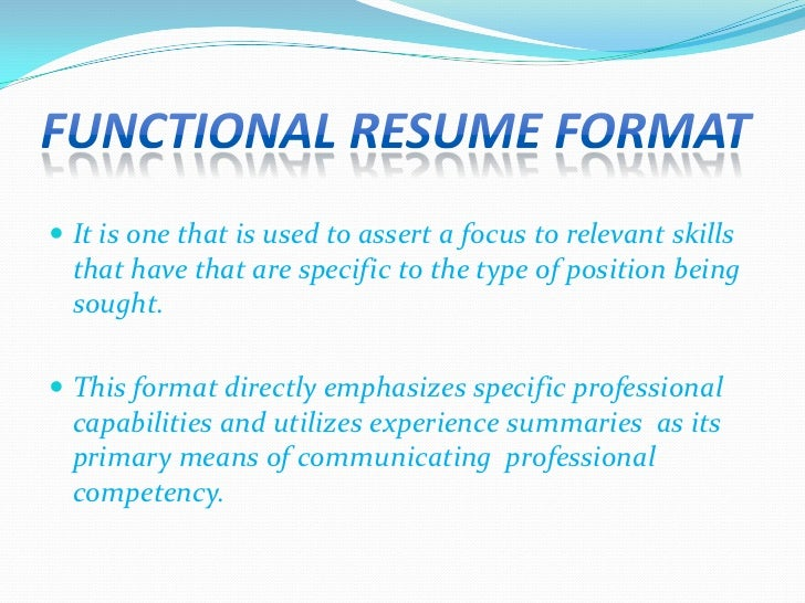 5 functional resume format - Type Of Resume Format