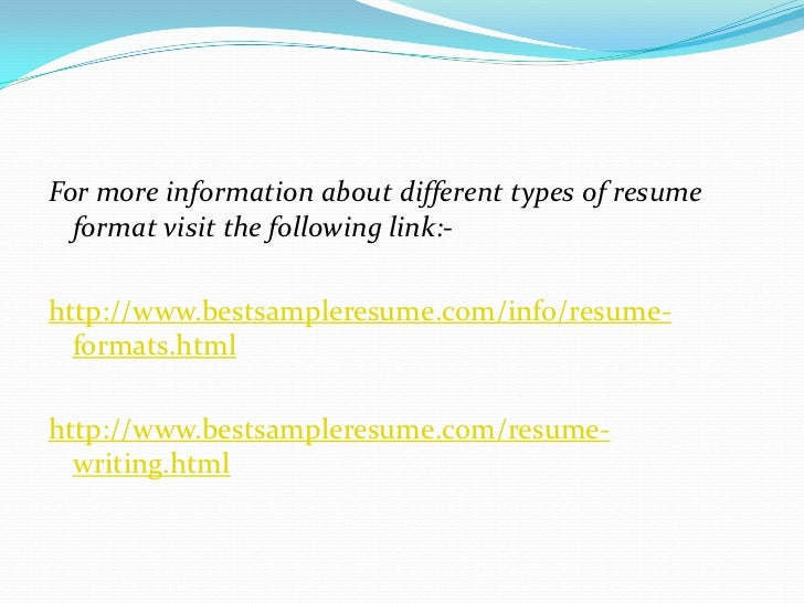 7 for more information about different types of resume