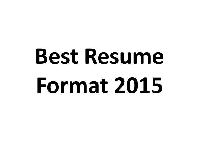 Best resume format 2015