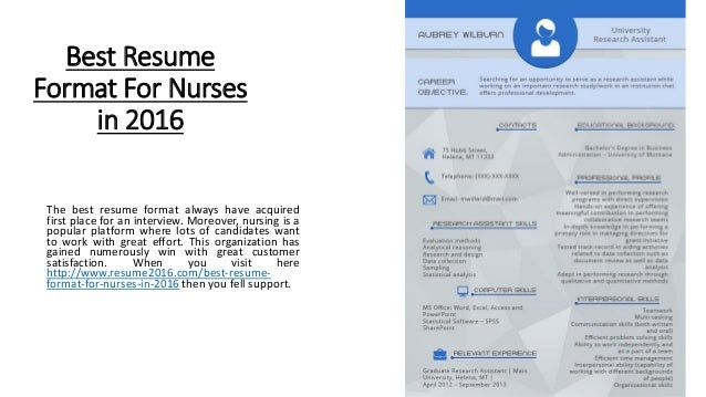 Best Resume Format For Nurses In 2016 The Best Resume Format Always Have  Acquired First Place