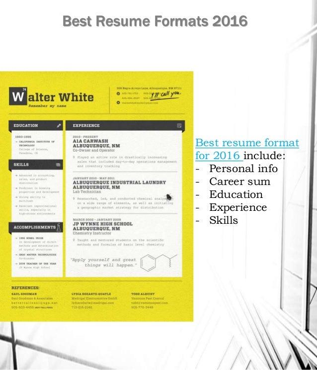 Best Resume Formats 2016