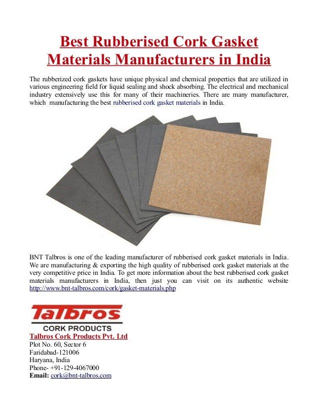 Best Rubberised Cork Gasket Materials Manufacturers in India