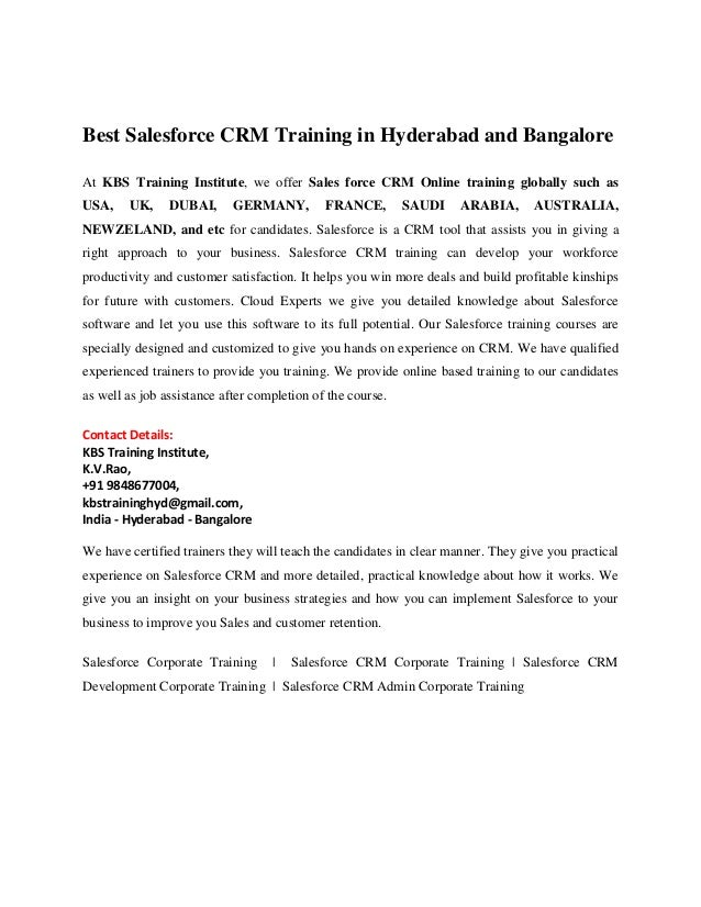 Best Salesforce Crm Online Training And Corporate Training