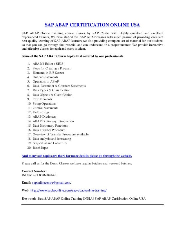 Best Sap Abap Online Training India Sap Abap Certification Online U