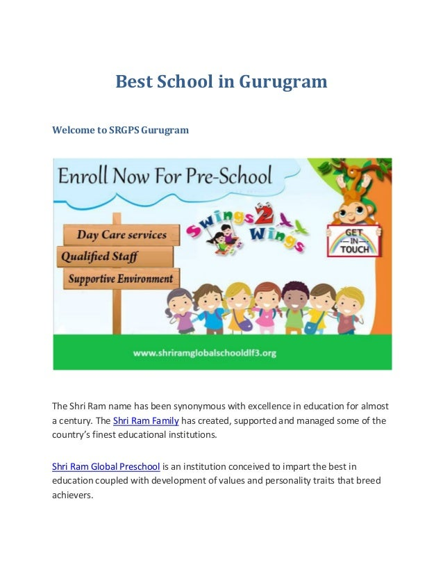 Best School in Gurugram Welcome to SRGPS Gurugram The Shri Ram name has been synonymous with excellence in education for a...