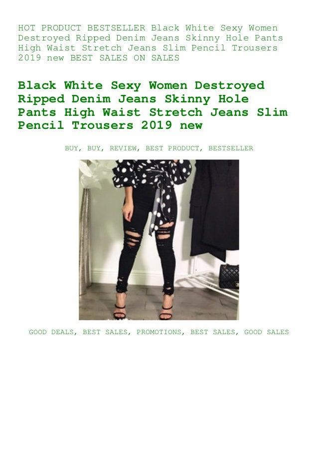 Women Skinny Ripped Knee Hole Jeans Pants High Waist Stretch Slim Pencil Trouser