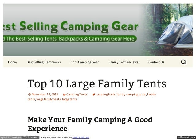 Top 10 Large Family Tents. pdfcrowd.comopen in browser PRO version Are you a developer?  sc 1 st  SlideShare & top-10-large-family-tents-1-638.jpg?cbu003d1447630403