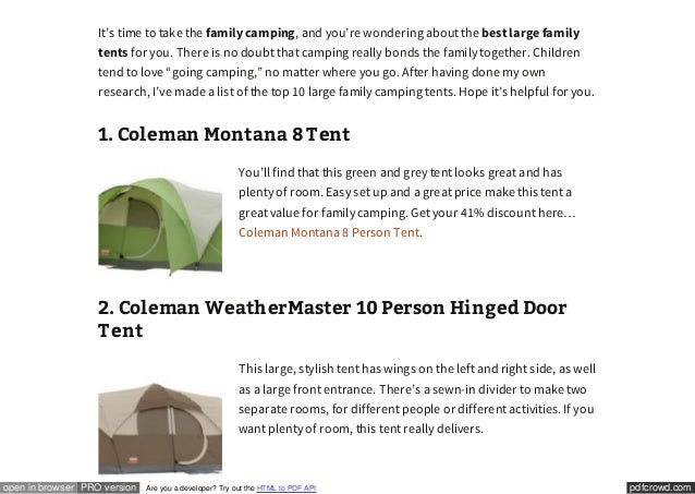 ... large tents Make Your Family C&ing A Good Experience; 2. ...  sc 1 st  SlideShare & Top 10 Large Family Tents