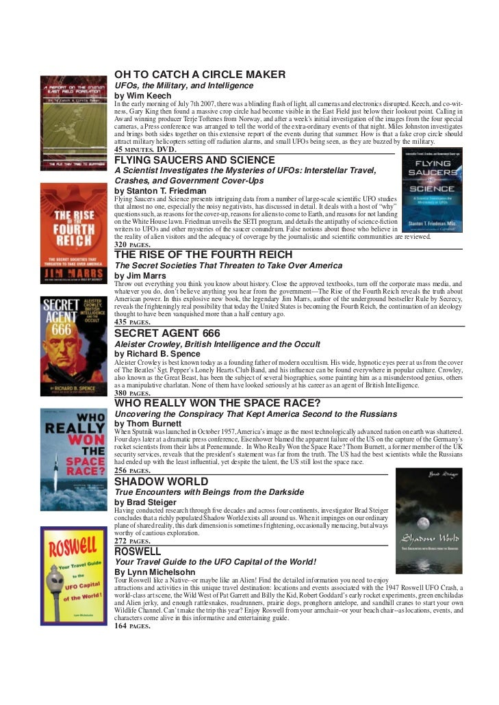 FRONTIER CATALOGUE NEW ITEMS   OH TO CATCH A CIRCLE MAKER   UFOs, the Military, and Intelligence   by Wim Keech   In the e...