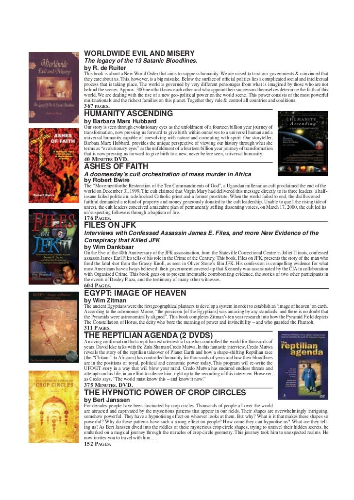 FRONTIER CATALOGUE NEW DVDS   WORLDWIDE EVIL AND MISERY   The legacy of the 13 Satanic Bloodlines.   by R. de Ruiter   Thi...