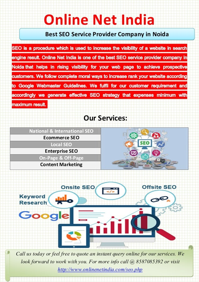 Online Net India SEO is a procedure which is used to increase the visibility of a website in search engine result. Online ...