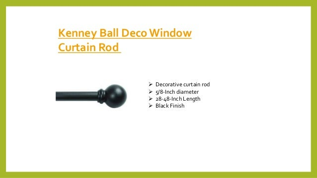 Kenney Ball DecoWindow Curtain Rod  Decorative curtain rod  5/8-Inch diameter  28-48-Inch Length  Black Finish