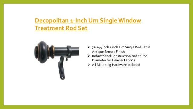 Decopolitan 1-Inch Urn Single Window Treatment Rod Set  72-144 inch 1 inch Urn Single Rod Set in Antique Bronze Finish  ...