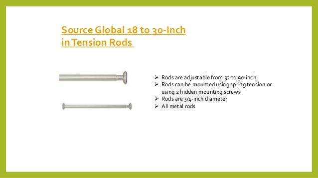Source Global 18 to 30-Inch inTension Rods  Rods are adjustable from 52 to 90-inch  Rods can be mounted using spring ten...