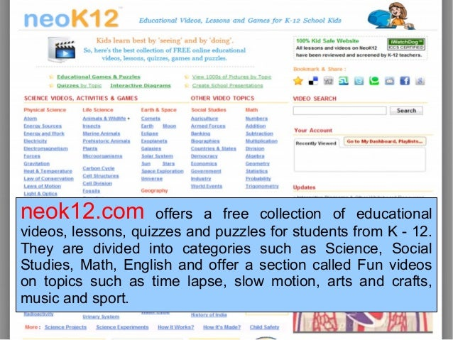 2tion; 23. neok12.com offers a free collection of educational videos ...