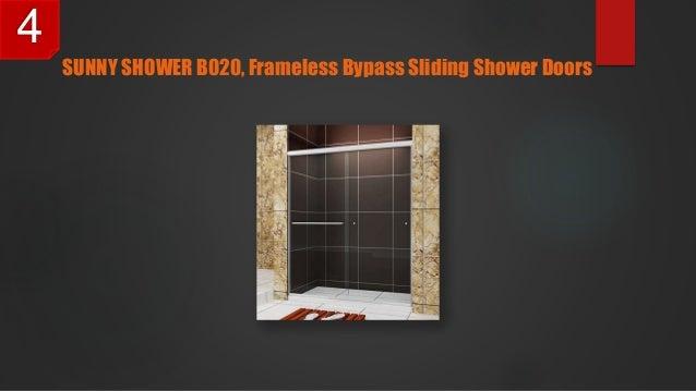 SUNNY SHOWER B020, Frameless Bypass Sliding Shower Doors 4 ...