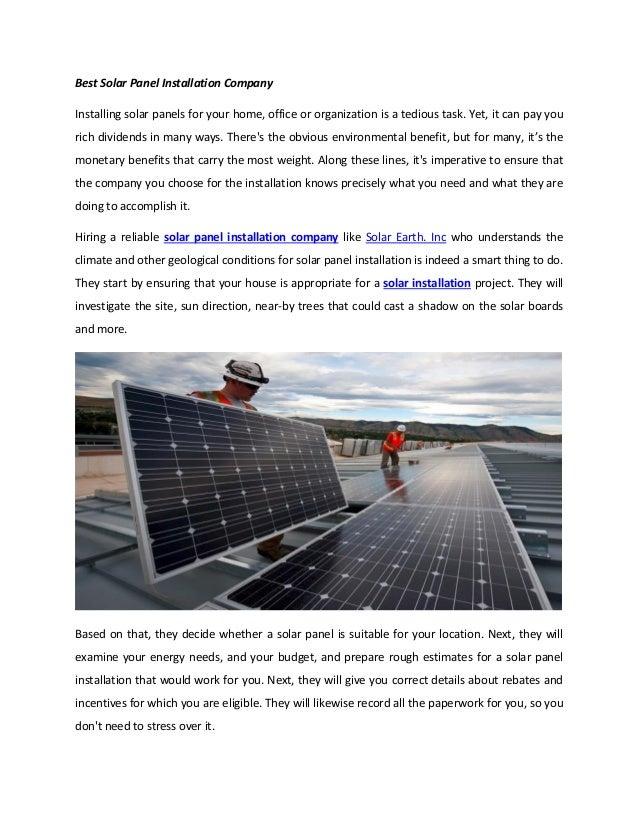 Best solar panel installation company