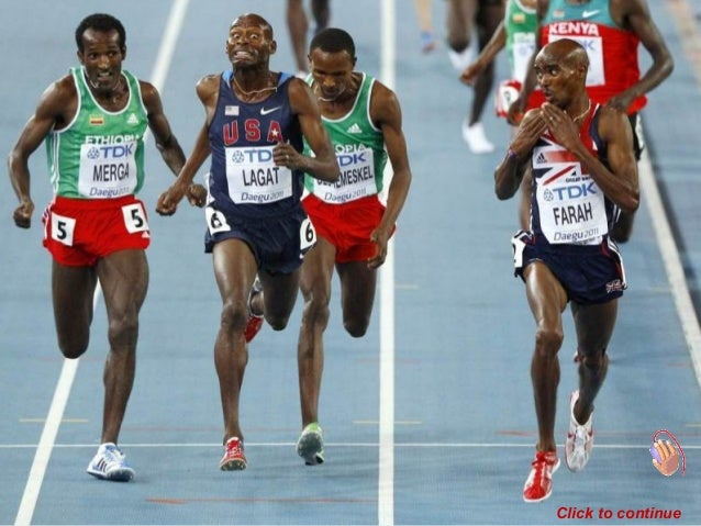 Mohamed Farah of Britain looks at his competitors as he sprints to the finish line ahead of Imane Merga of Ethiopa (left),...