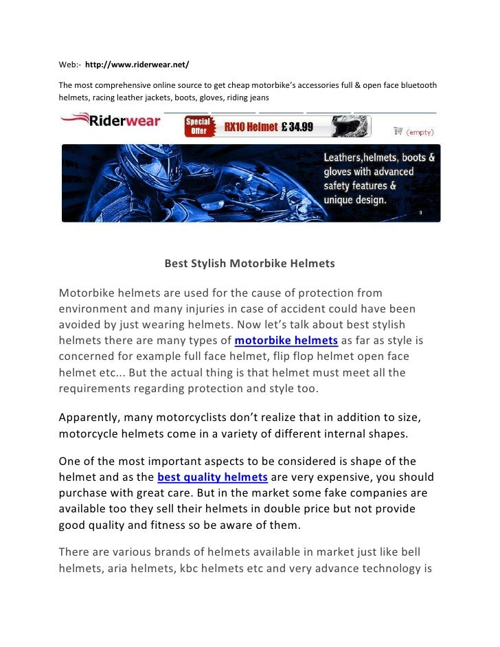 Web:-  http://www.riderwear.net/<br />The most comprehensive online source to get cheap motorbike's accessories full & ope...