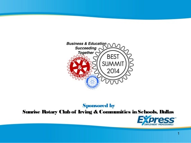 Sponsored by Sunrise Rotary Club of Irving & Communities in Schools, Dallas 1