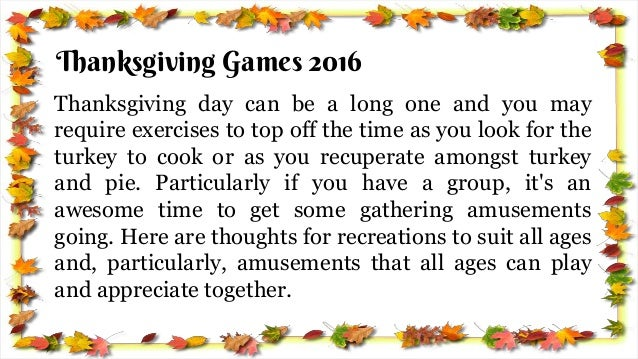 activities for adults on thanksgiving day