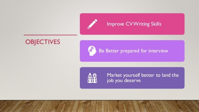 OBJECTIVES Improve CV Writing Skills Be Better prepared for interview Market yourself better to land the job you deserve