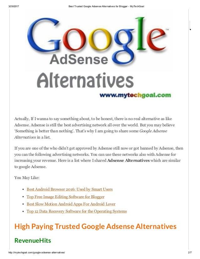 Best Trusted Google Adsense Alternatives For Blogger My Techgoal
