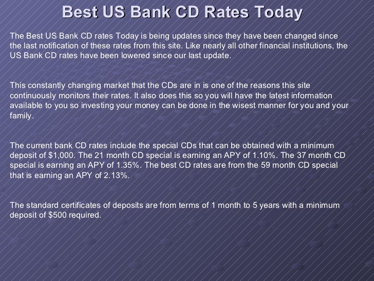 Best Us Bank Cd Rates Today