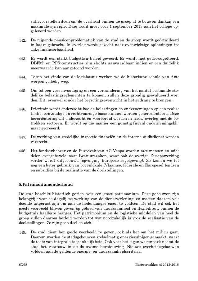 Bestuursakkoord stad antwerpen 2013 2018