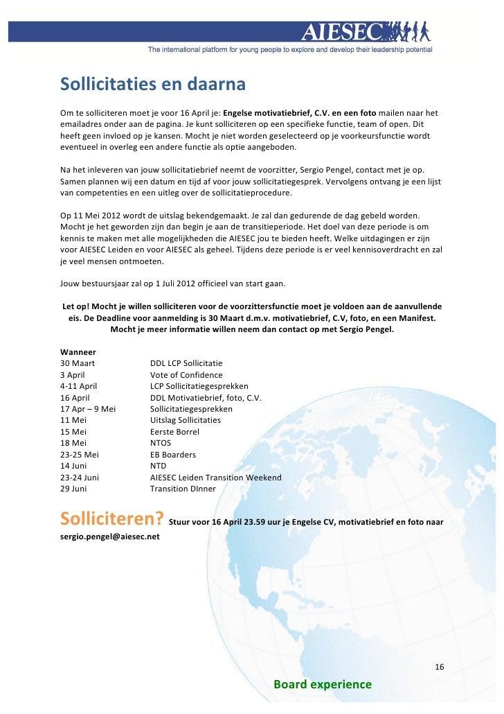 motivatiebrief bestuursfunctie Bestuursfuncties infobooklet AIESEC Leiden Mei 2012