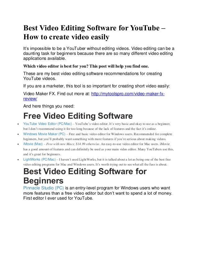 best software for making youtube videos