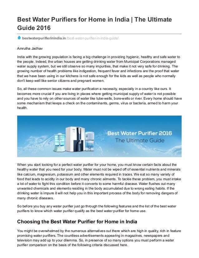Bestwaterpurifierinindia in best water purifiers for home in
